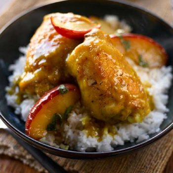 Curried Chicken Thighs with Caramelized Apples