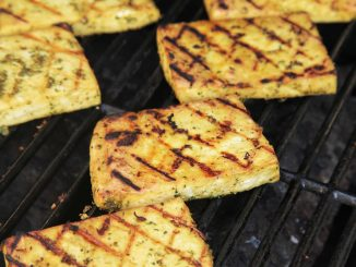 Grilled Tofu, Mango, Pineapple and Lime Skewers