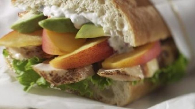 Layered Ontario Peach And Chicken Ciabatta Loaf