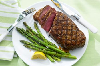 Strip Loin with Garlic Grilled Asparagus