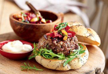 greek burger with beetroot relish 350x240   Greek Burger with Beetroot Relish   RecipesNow.com