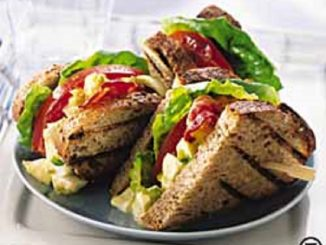Chunky Deviled Egg Salad on Grilled Country Wheat