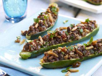 Beef and Almond Stuffed Zucchini Boats