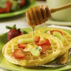 Waffles With Fruit And Honey Sauce