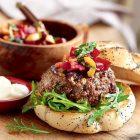Greek Burger with Beetroot Relish
