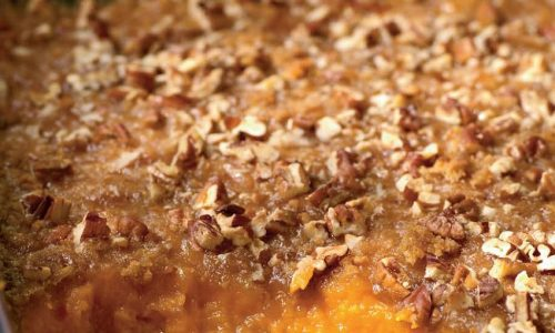 Mix all topping ingredients til crumbly. Spread on yams then bake at 350 degrees for 40 minutes.