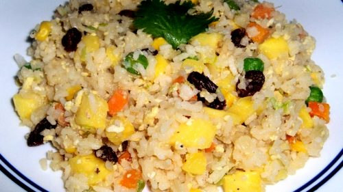Add rice and pineapple; stir and heat thoroughly.