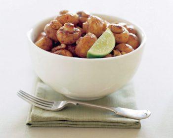 Balsamic and Chili Glazed Mushrooms with Walnuts