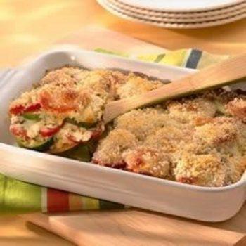 Zucchini, Tomato And Provolone Bake