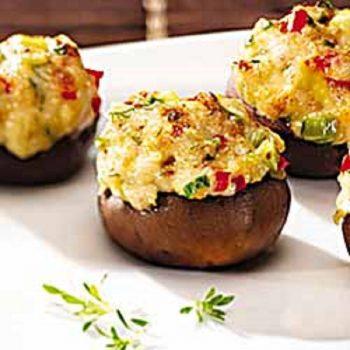Artichoke & Sausage Stuffed Mushrooms