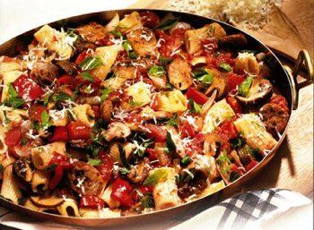 Italian Sausage, Red Pepper and Mushroom Rigatoni